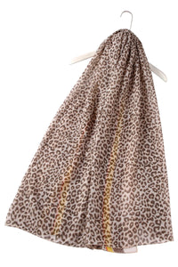 Leopard Print With Stripe Border Scarf - Fashion Scarf World