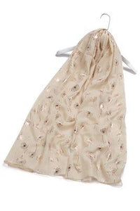 Rose Gold Dandelion Print Scarf - Fashion Scarf World