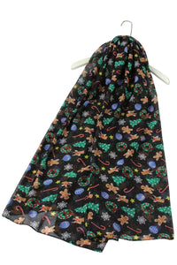 Christmas Gingerbread Man Print Scarf - Fashion Scarf World
