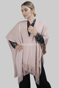 Metallic Thread & Pearl Knitted Tassel Poncho - Fashion Scarf World