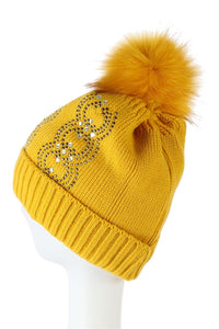 Diamante Pattern Faux Fur Pom Pom Beanie Hat - Fashion Scarf World