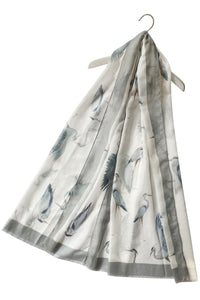 Heron Bird Print Frayed Scarf - Fashion Scarf World