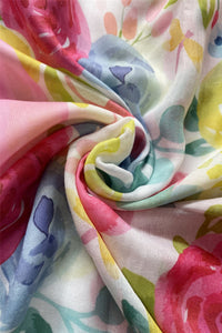 Painted Flower Print Frayed Scarf - Fashion Scarf World