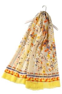 Bright Folk Style Floral Frayed Scarf - Fashion Scarf World