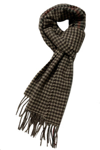 Houndstooth With Stripe Wool Unisex Scarf - Fashion Scarf World