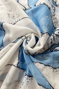Geometric Polar Bear Print Frayed Scarf - Fashion Scarf World