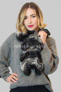 Two Tone Faux Fur Scarf (Wide) - Fashion Scarf World