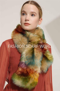 Multicoloured Faux Fur Pull Through Collar - Fashion Scarf World