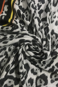 Leopard Print & Bright Border Frayed Scarf - Fashion Scarf World