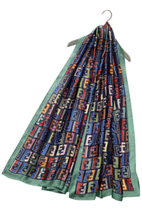 Multicoloured 'E' Letter Print Silk Scarf - Fashion Scarf World