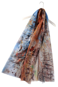 Woodland Print Frayed Scarf - Fashion Scarf World