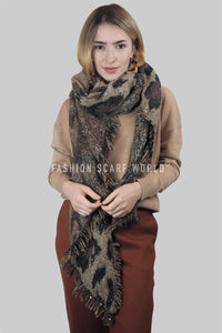 Sequin Leopard Print Frayed Blanket Wrap - Fashion Scarf World