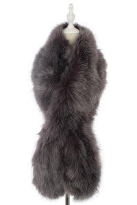 Soft Fur Long Scarf - Grey - Fashion Scarf World