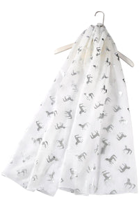 Silver Foil Unicorn Print Frayed Scarf - Fashion Scarf World