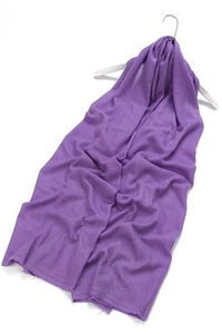 Plain Colour Pure Cashmere Scarf - Purple - Fashion Scarf World