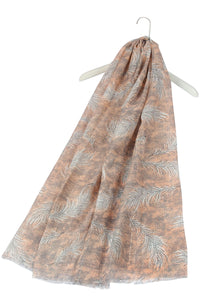 Sequin Dotted Feather Print Frayed Scarf - Fashion Scarf World