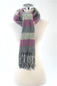 Soft Wool Multi - coloured - Stripe Print Scarf - Fashion Scarf World
