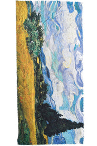 Van Gogh Wheat Field with Cypresses Print Scarf - Fashion Scarf World