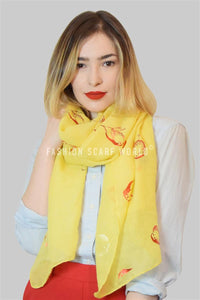 Robin Bird Foiled Print Scarf - Fashion Scarf World