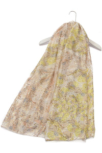 Gold Dust & Viola Flower Print Frayed Scarf - Fashion Scarf World