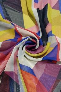 Soft Geometric Print Chiffon Scarf - Fashion Scarf World