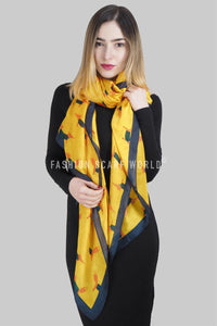 Fox Character Print Silk Scarf - Fashion Scarf World