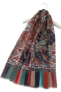 Indian Paisley Print Frayed Scarf - Fashion Scarf World