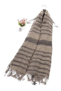 Stripe With Check Border Print Tassel Linen Scarf - Fashion Scarf World