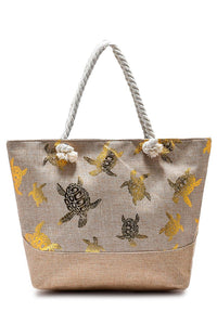 Foiled Turtle Print Beach Bag - Fashion Scarf World