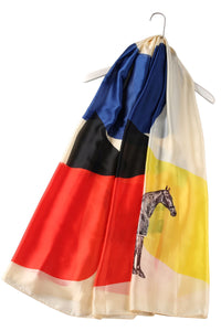 Block Colour Horse Print Silk Scarf - Fashion Scarf World