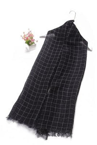 Plain Classic Check Print Frayed Linen Scarf - Fashion Scarf World