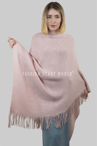Plain Knitted Tassel Poncho - Fashion Scarf World
