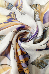 Seashell Print Frayed Scarf - Fashion Scarf World