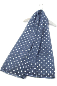 Denim Like Silver Polka Dot Print Scarf - Fashion Scarf World