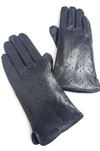 Hole Punched Leather Gloves - Fashion Scarf World