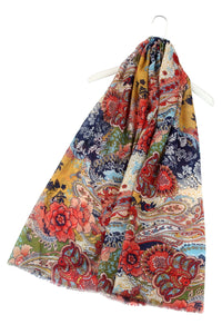 Colourful Busy Floral Tassel Scarf - Fashion Scarf World