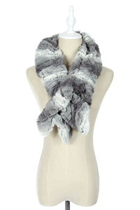 Wide Furry Ruffle Pull Through Scarf - Fashion Scarf World