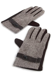 Herringbone Snap Button Men Gloves - Fashion Scarf World