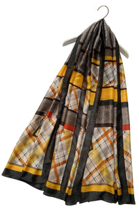 Plaid & Polka Dot Print Silk Scarf With Belt Detail - Fashion Scarf World