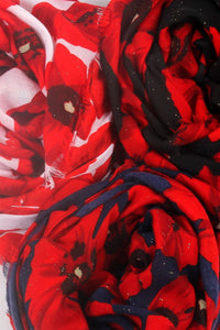Glitter Bold Poppy Frayed Scarf - Fashion Scarf World
