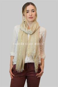 Gold & Silver Metallic Stripe Frayed Scarf - Fashion Scarf World