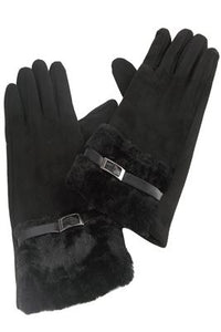 Side Buckled Faux Fur Edge Gloves - Fashion Scarf World