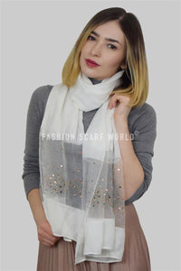 Decorative Gem & Diamante Sheer Silk Scarf - Fashion Scarf World