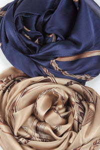 Chain And Buckle Print Silk Scarf - Fashion Scarf World