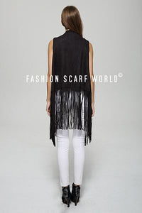 Suede Waist Coat With Tassel - Fashion Scarf World
