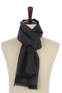 Reversible Dots & Pin Stripes Print Frayed Men/Unisex Scarf - Fashion Scarf World