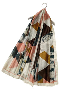 Marble Effect Triangle Print Silk Scarf - Fashion Scarf World