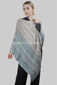 Knitted Stripe Tassel Poncho - Fashion Scarf World