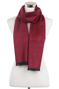 Fine Line Check Print Frayed Men Scarf - Fashion Scarf World