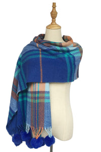 Tartan Check Wool Tassel Scarf - Fashion Scarf World